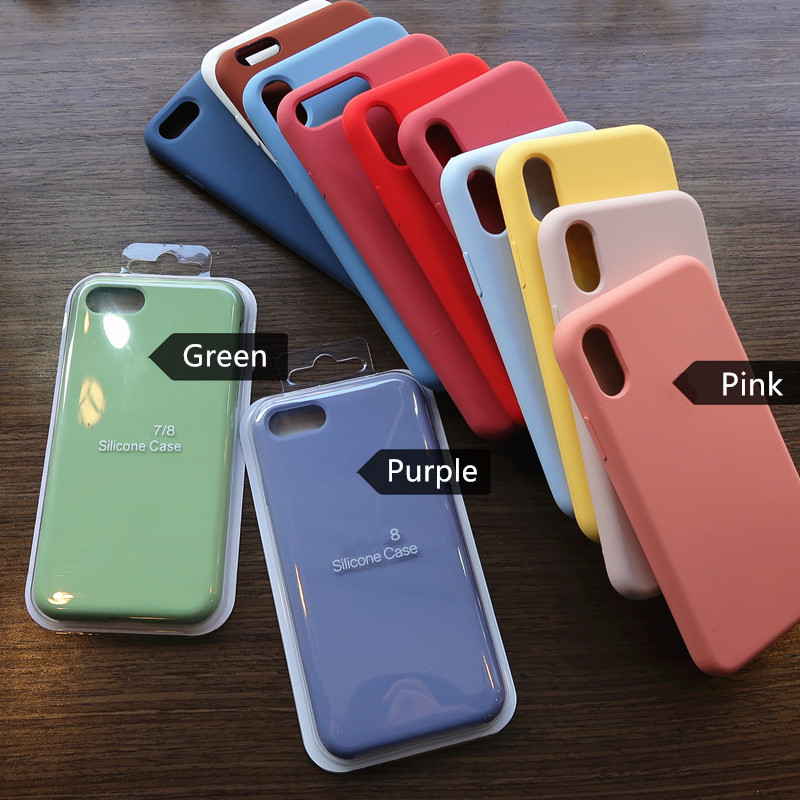 Liquid Silicone Phone Case for iphone 12 11 Pro <strong>Max</strong> XS XR 6 7s 8s Plus 8+ 5.5 SE 2020 Soft Shockproof Cover Full Protective Case
