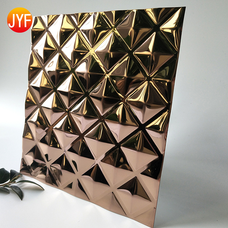jyf559 Cheap Home Decoration Embossed Mirror Polished Rose Gold Stainless Steel Sheet