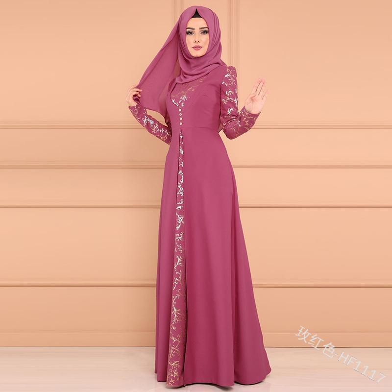 Heiß-verkauf Gilt gedruckt taste band dünnes kleid muslimischen kaften
