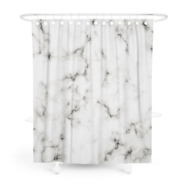White eco friendly and waterproof marble shower curtain printing