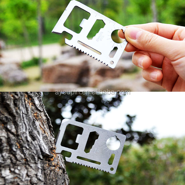 Outdoor 18 In 1 Flesopener Creditcard Survival Multitool Multifunctionele Kaart Hulpmiddel Kaart