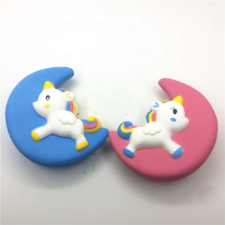 Hot selling Yellow Kawaii Soft PU Moon Unicorn horse Squishies Toys Stress Ball Slow Rising Gifts