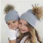 children's kids Baby Fashion Winter Hat Cap Printed Knit Cotton Fur Pompom Bonnet Hat