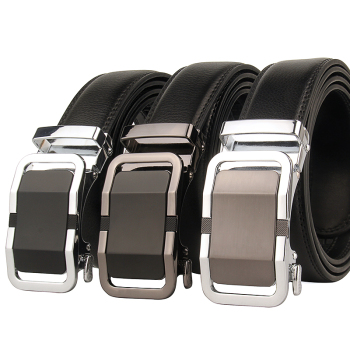 Large men's black jeans belt fashion auto ratchet leather tight leather coat business belt