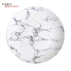 WtP01 Restaurant Dinner Pizza Decor Dessert Charger Serving Dishes, White And Black Marble Crockery Ceramic Plate Set