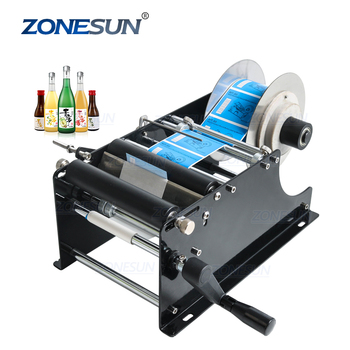 ZONESUN Easy Simple Manual Wet Glue Adhesive Beer Plastic Container Cans Essential Oil Bottle Labeling Machine
