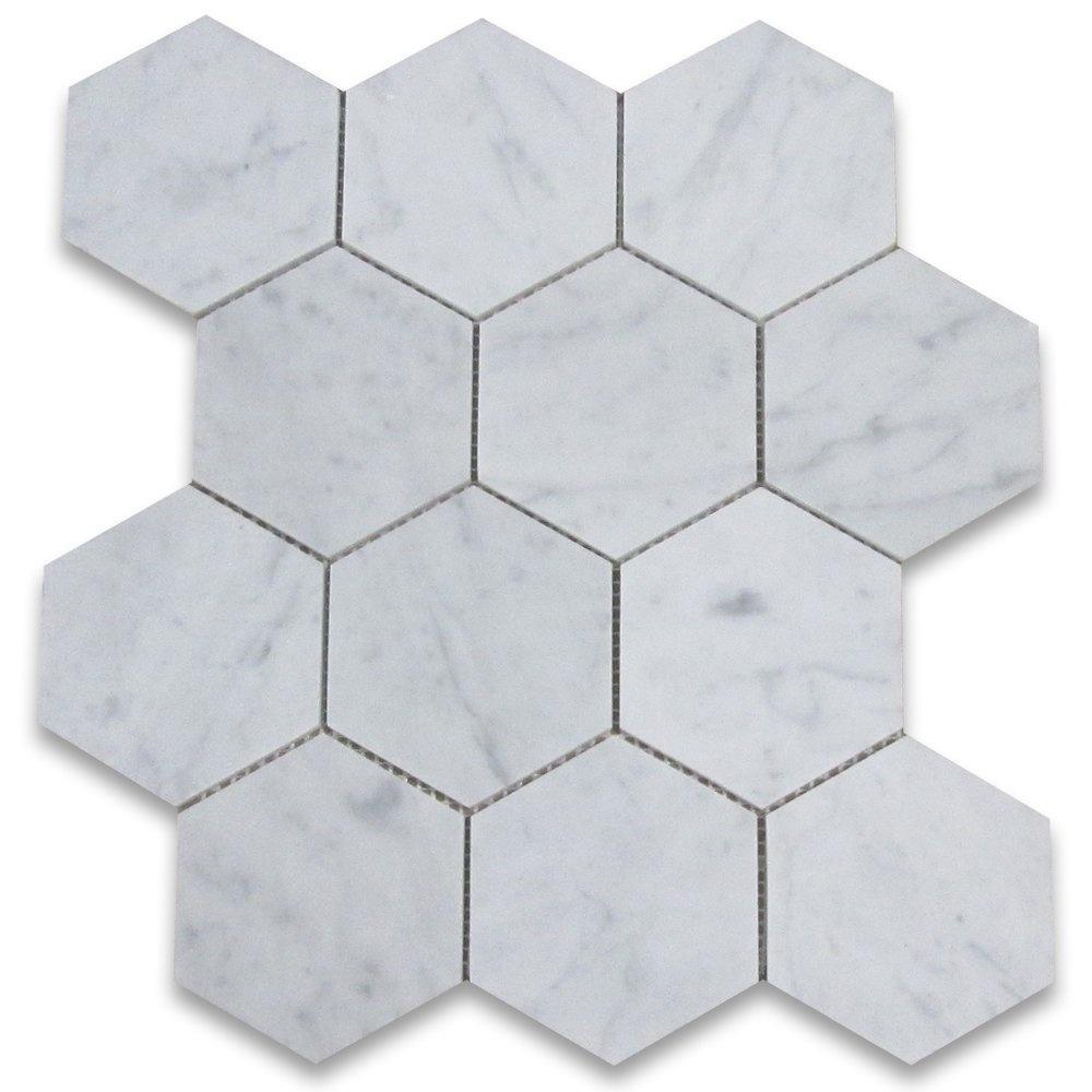 Carrara Putih Marmer Italia 2 Inch Hexagon Marmer Mosaik Ubin