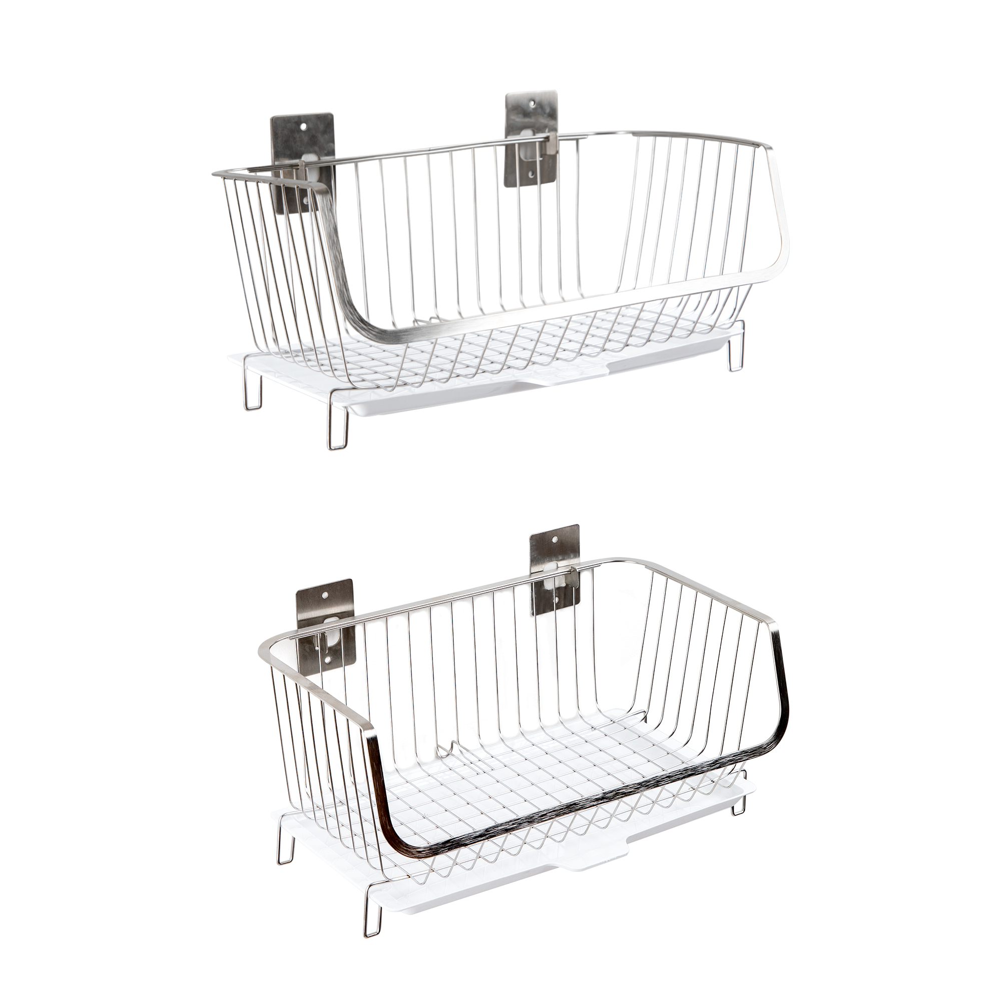 2PCS Free Screws Multifunctional hanging Wall Mounted fruit vegetable kitchen metal <strong>storage</strong> stainless steel wire <strong>basket</strong>