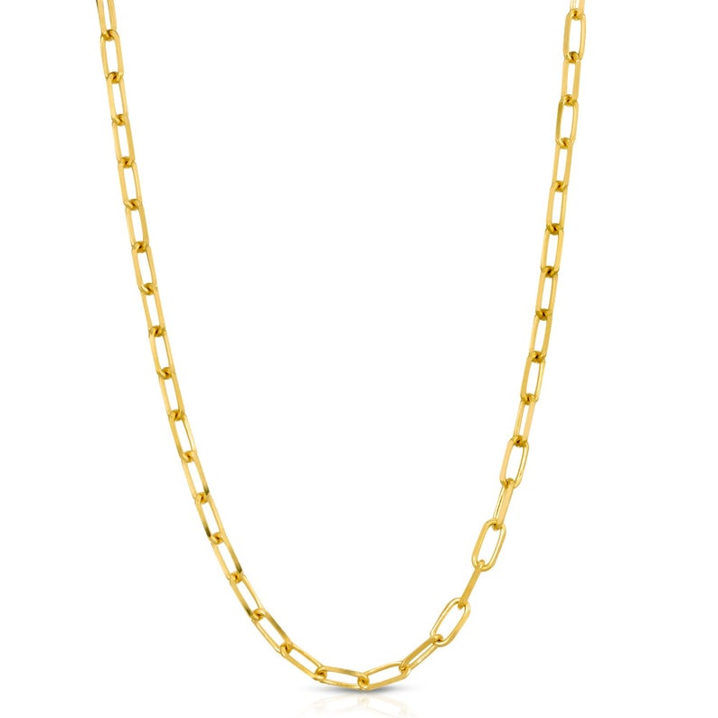 Fashion unisex stainless steel jewelry chain necklace custom 18k 14k oval link rectangle gold paperclip necklace