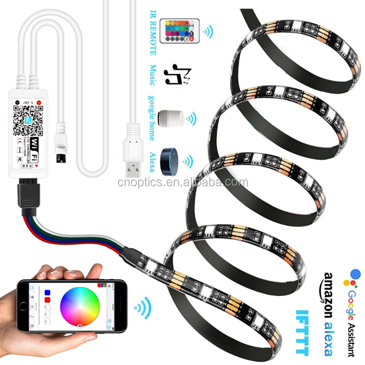 APP WIFI Remote Control USB LED Strip 5V 5050 RGB Background Backlight Light Waterproof Computer TV LED Strips Set/Kit