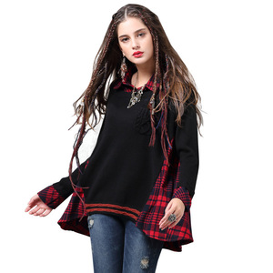 2019 fashion autumn women sweater stitched plaid shirt ladies loose tops
