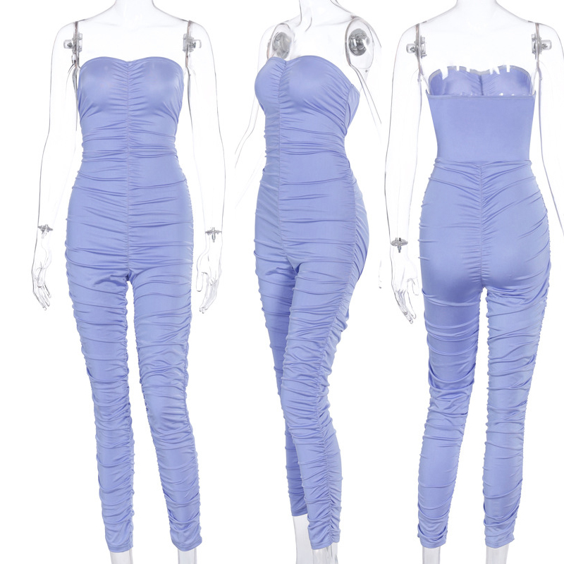 Women Off Shoulder Bodycon Clubwear Playsuit Jumpsuits Rompers Skinny Sexy Crumpled Trousers