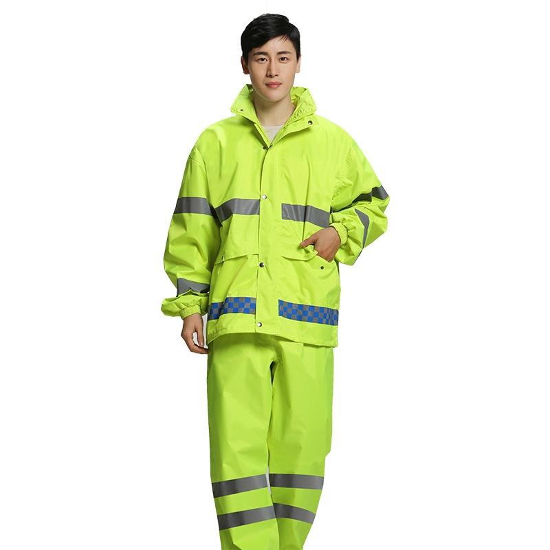 防水蛍光グリーン二重層オックスフォードレインコートスーツ