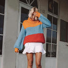 Wholesale long sleeve red yellow blue High collar pullover striped Sweater woman