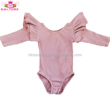 Blush Pink Kids Ribbed Cotton Long Sleeve Flutter Leotards With Double Ruffles Ribbed Gymnastics Clothing