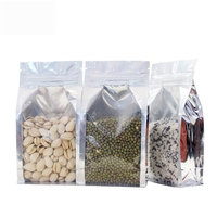 Factory supply laminated plastic small transparent stand up ziplock food aluminum zip bag foil backed bags clear front
