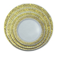 Cheap Disposable PS plastic wedding plates with hot stamp charge lace plate