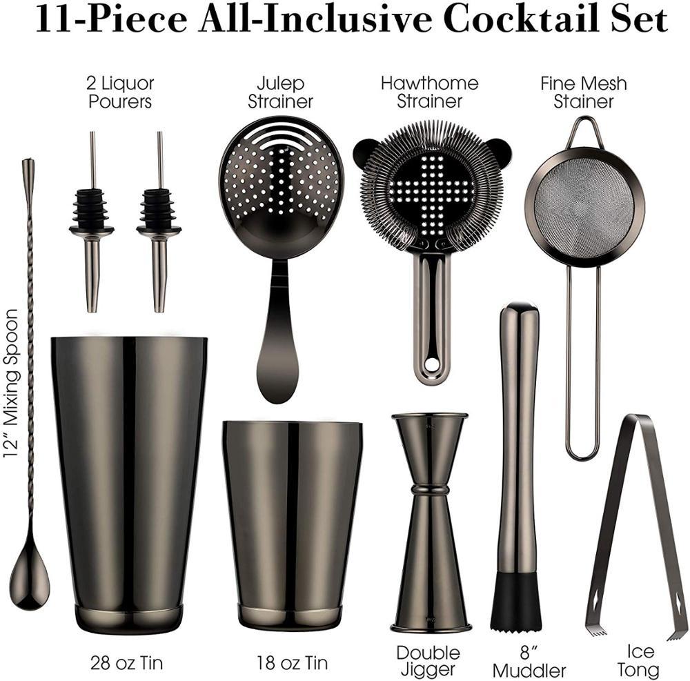 11Pieces Black Boston Cocktail Shaker Bar Set
