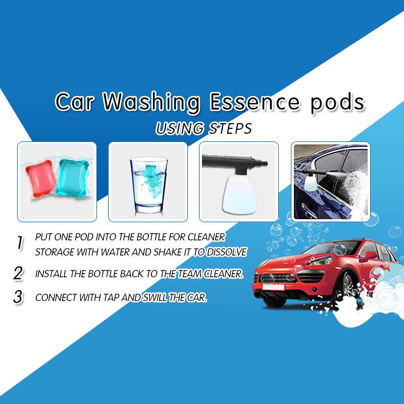 Natural waterless car wash shampoo 8g x 40pcs washing liquid foam gel pod