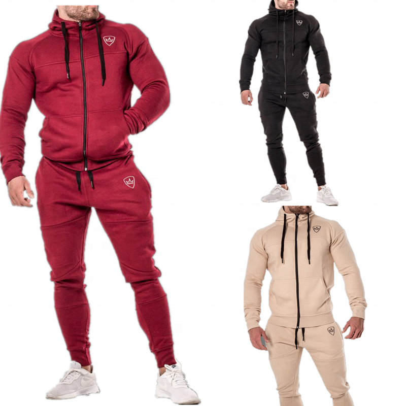 ASSUN 2020 baumwolle slim fit schwarz benutzerdefinierte männer sweatsuit set mit logo trainingsanzug jogging anzug