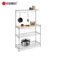 Easy Assemble Wire Home Shelf With Hooks-5 Tiers Metal Wire Kitchen Bakers Storage Rack