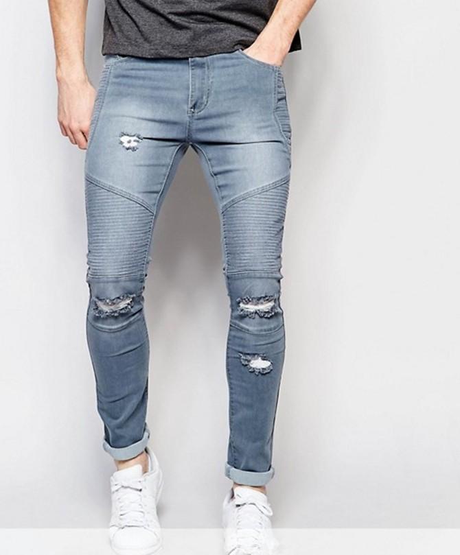 फट पतला पुरुषों जींस खिंचाव डेनिम पतलून लोचदार कमर बड़ा आकार यूरोपीय फैशन जीन्स 2020 फैशन शैली नीली पैंट