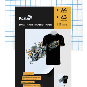 Koala premium A4 dark t shirt transfer paper , inkjet heat transfer paper dark for cotton shirts
