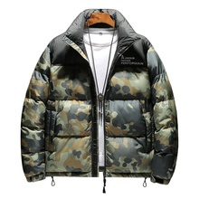 Plus Size Wind Breaker Mode Winter Kleding Alle Over Print Geul Bubble Puffer Heren Jas Jas
