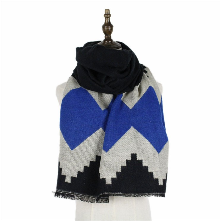 Thickened double-sided diamond  cashmere scarf for ladies