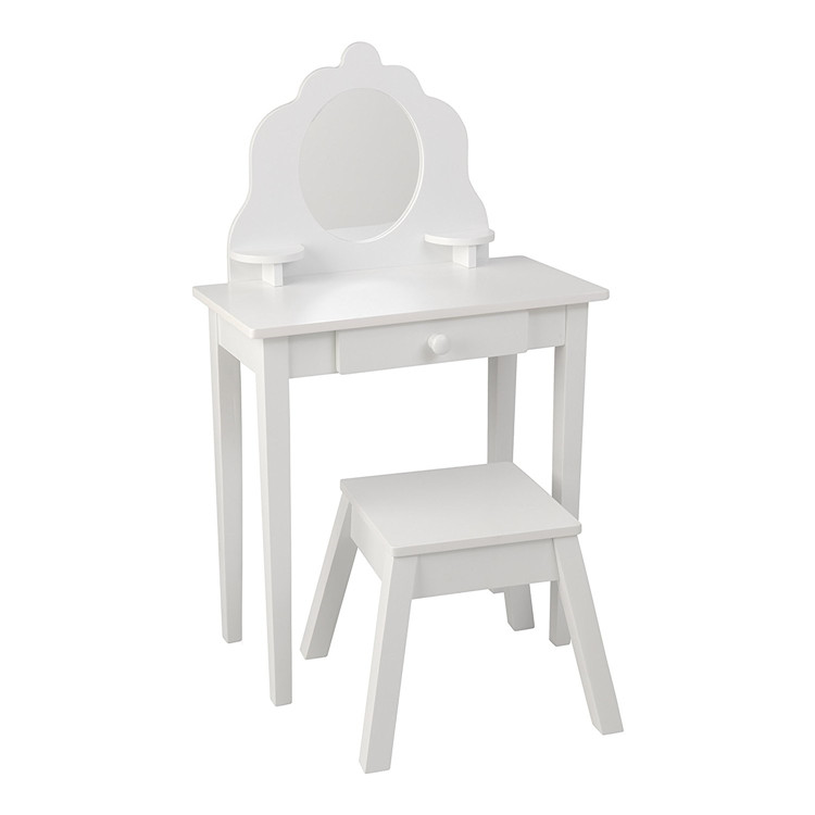 Kids white wooden dressing table and stool set