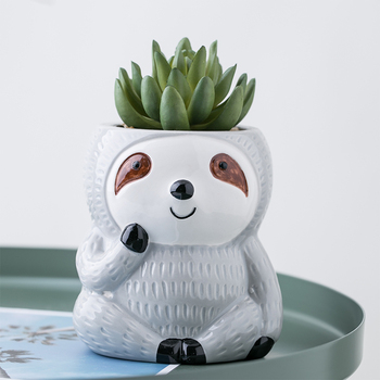 Factory direct mini cute animal shape ceramic sloth flower plant pot for home and garden decoration