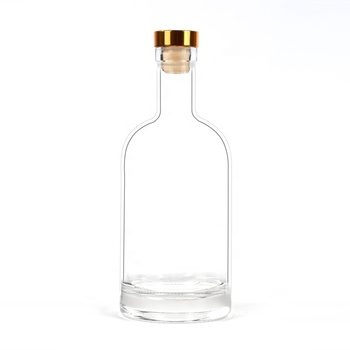 Flint clear glass wine bottle 750ml with cork