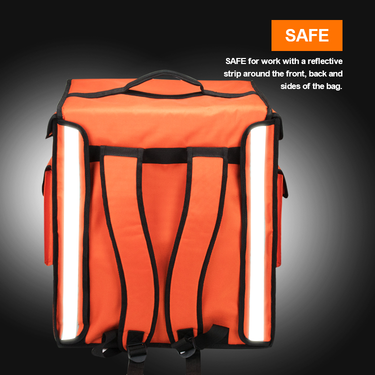Custom Foldable Insulated Large Backpack Style Commercial Pizza Cooler Thermal Food Delivery Bag