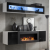 Modern decorative Wall Unit with Ethanol Fireplace High Gloss FLY N Free P&P Led Lighting