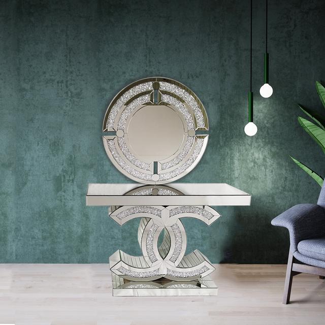 2020 Heet Verkoop Woonkamer Mirrored Cc Ontwerp Met Verpletterd Diamond Home Hotel Commerciële Winkel Console Tafel Hal Tafel