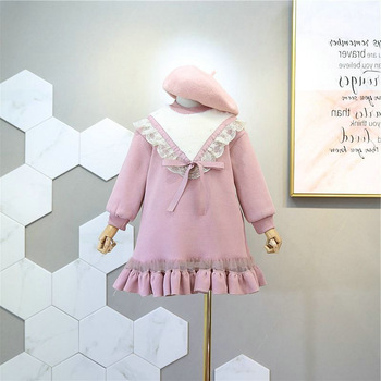 Birthday Princess Autumn Dresses Kids Girl Fall Dresses Children Girls Kids Long Sleeve Hoodies Bows Plush And Thick Dresses
