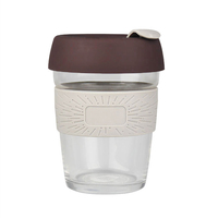 Peddy Custom Printed Logo 12oz Travel Keep Glass Reusable Coffee Cups Mugs with Silicone Lid and Sleeve