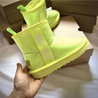Waterproof Sheepskin Waterproof Boots Wholesale Ladies Sheepskin Kids Women Winter Fashion Warm Waterproof Fur Snow Boots