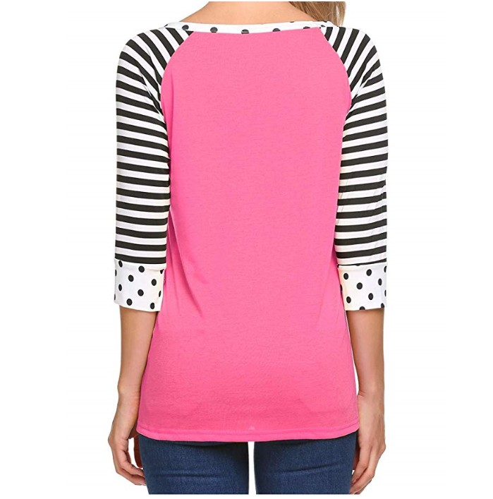 Women's Polka Dots Shirt Striped 3/4 Sleeve Casual Scoop Neck Tops Tee S-XXL
