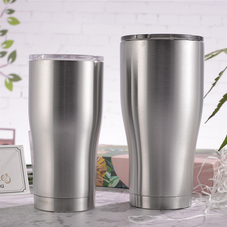 Hot Sale Custom 30oz Modern Curve Tumbler Double Wall Stainless Steel Vacuum Modern Curve tumbler cups with sliding lid