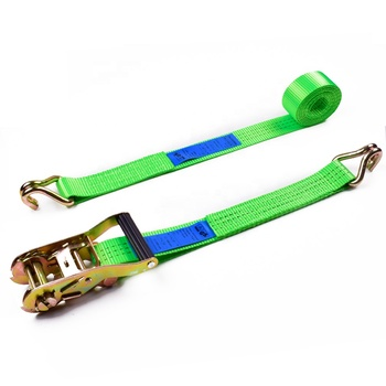 "1.5"" 3T 38mm Plastic Handle Buckle Cargo Tensioner Lashing Ratchet Straps With 1.5 Inch Double J Hooks"
