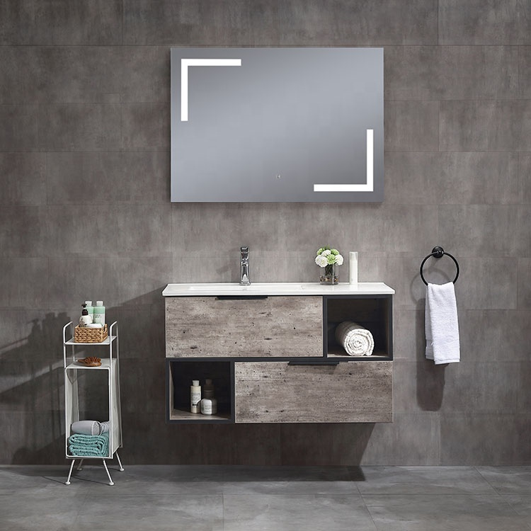 Ojans Modern Style New Design Wall Hung Small Single Sink White Pvc Bathroom Vanity Set Combo