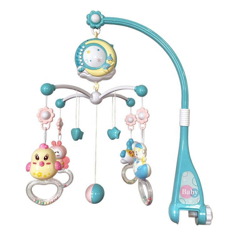 Baby Musical Crib Mobile with Hanging Rotating Rattles and Remote Control