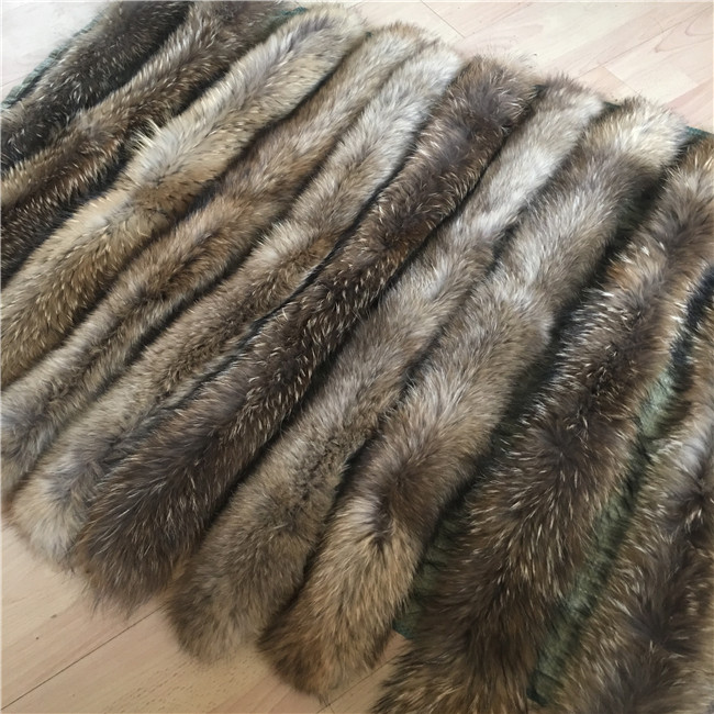 Raccoon fur collar trim strips