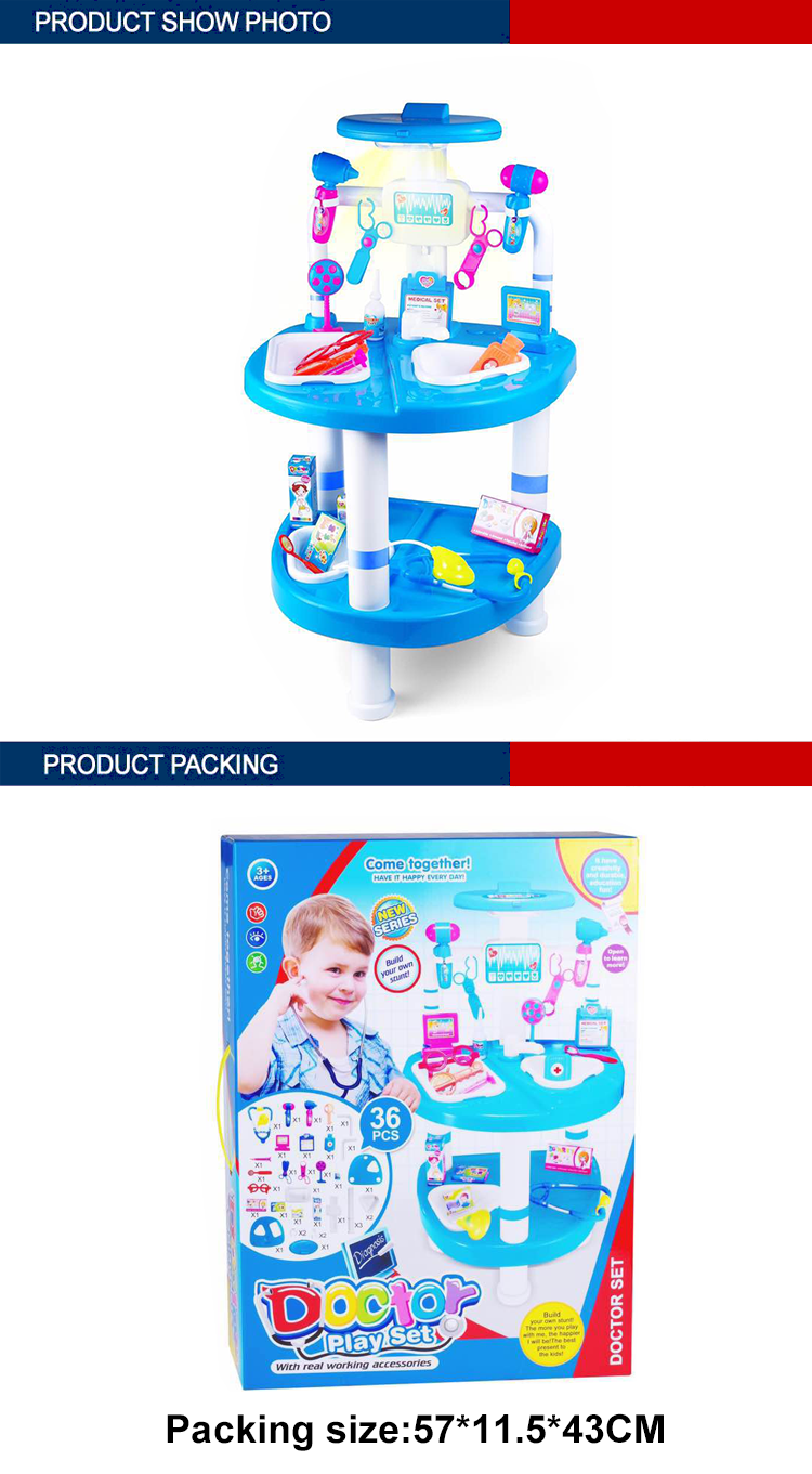 medical table toys high quality doctor kit for kids with light