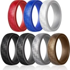Detachable Carbon Fiber Pattern Silicone Wedding Ring for Men