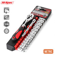 "Hi-Spec 15pc 1/4"" Metric Socket Set Kit Automobile With Ratchet Drive Socket Handle & Quick Release Function"