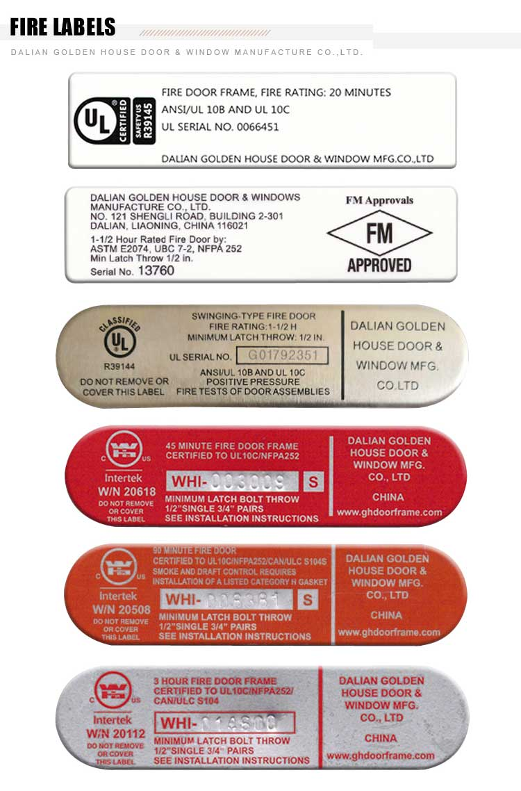 GH steel fire door labels