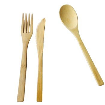 Environmentally Friendly Nature Travel Utensils Wholesale Wooden Reusable Bamboo Cutlery Set