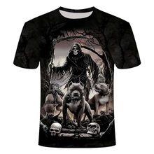 Футболка с черепом, футболка с изображением скелета, Готическая футболка, Панк футболка, винтажные футболки, 3d футболка, аниме, мужские стил...(Китай)